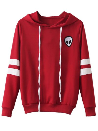 Striped Classic Hoodie - RED XL Mobile