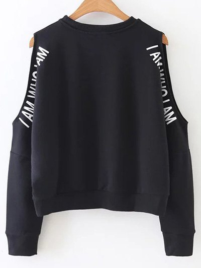 Cut Out Text Print Sweatshirt - BLACK S Mobile