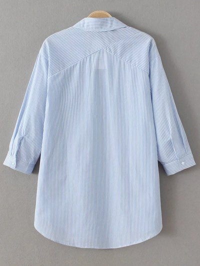 Long Sleeve Striped Lace Up Blouse - BLUE AND WHITE L Mobile