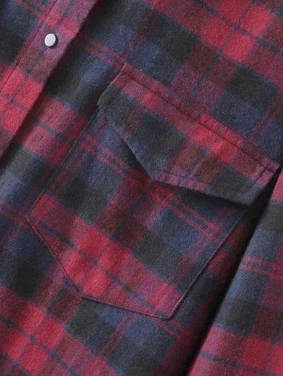 Plaid Shirt Dress With Pockets - COLORMIX M Mobile