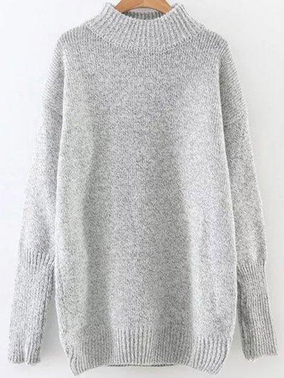 Long High Neck Sweater - Light Gray