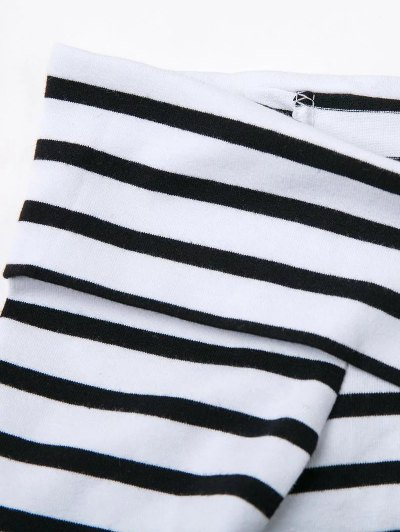 Striped Off Shoulder Front Criss T-Shirt - WHITE S Mobile