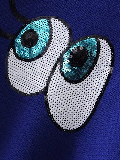Eye Pattern Sequins Sweater - BLACK ONE SIZE Mobile