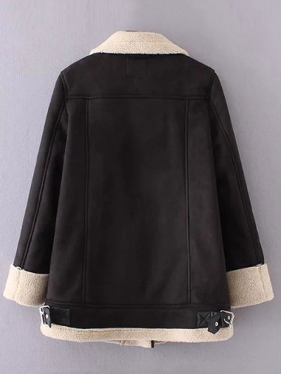 Fleece Lining Faux Suede Funnel Coat - BLACK L Mobile
