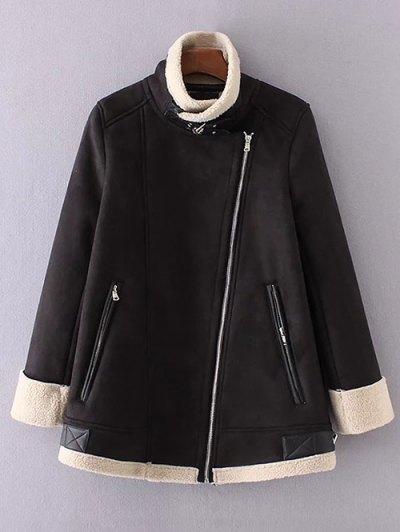 Fleece Lining Faux Suede Funnel Coat - Black