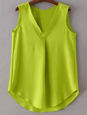 V-Neck Pure Color Tank Top - Bluish Yellow