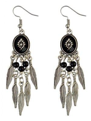Bohemian Fringe Leaf Beads Chandelier Earrings - Black