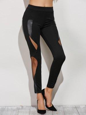 Mesh Spliced Narrow Feet Pants - Black