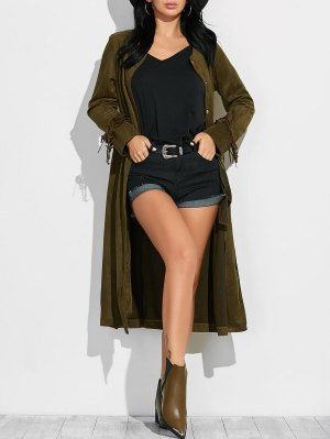 Fringe Suede Maxi Coat - Army Green