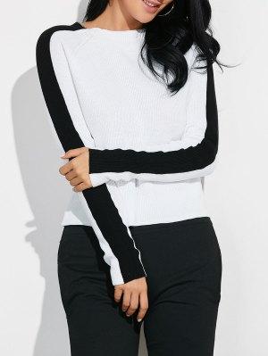 Color Block Jewel Neck Knitwear - White