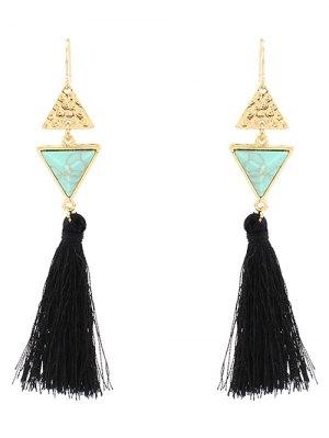 Artificial Turquoise Tassel Triangle Earrings - Green