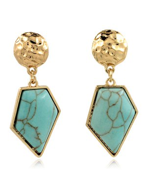 Faux Turquoise Irregular Geometric Earrings - Green