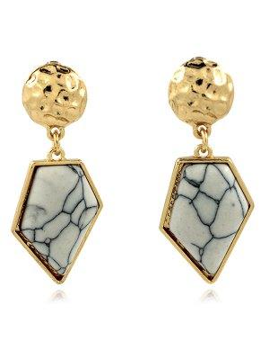 Faux Turquoise Irregular Geometric Earrings - White