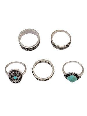 Medallion Carved Ring Set - Silver