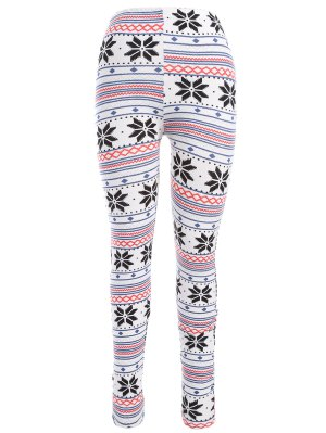 Snowflake Print Christmas Leggings - White
