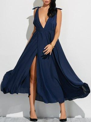 High Slit Low Cut Maxi Sexy Prom Dress - Cadetblue