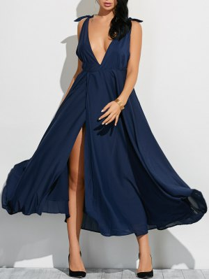 High Slit Low Cut Maxi Sexy Prom Dress - Cadetblue