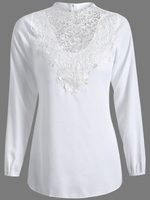 Long Sleeve Lace Spliced Top - White