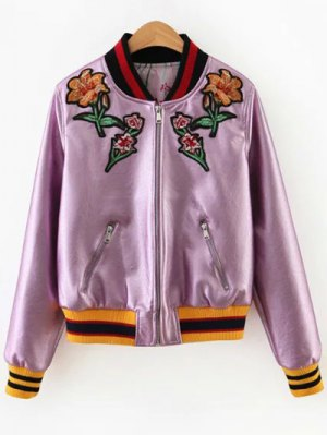 Embroidered Metal Colour PU Leather Jacket - Pink