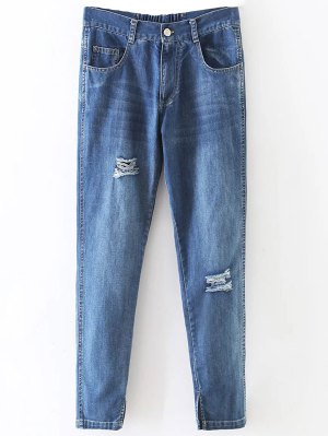 Distressed Pockets Jeans - Light Blue