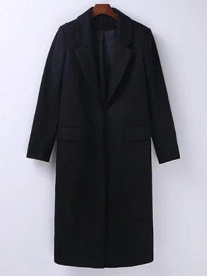 Wool Blend Masculine Coat - Black