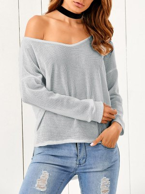 Loose One-Shoulder Sweater - Gray