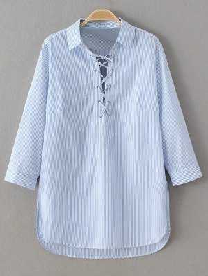 Long Sleeve Striped Lace Up Blouse - Blue And White