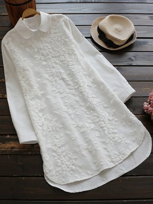 Buttoned Embroidered Blouse Collared Shirt - White