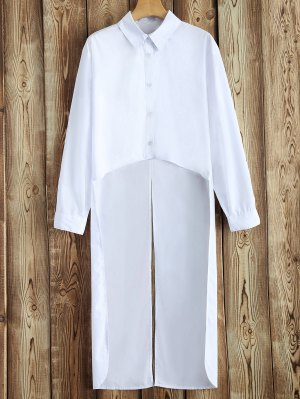 Slit High-Low Shirt - White
