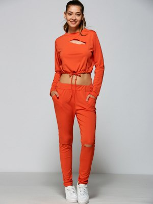 Ripped Cropped Sweatshirt And High Waisted Ripped Pants - Orange Red