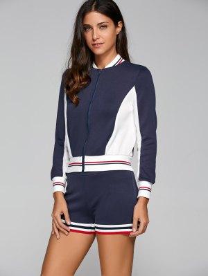 Active Shorts And Baseball Jacket Set - Navy Blue