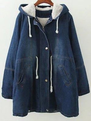 Hooded Denim Coat - Blue