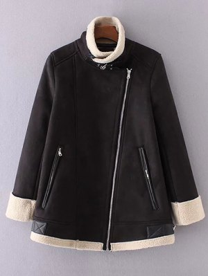 Fleece Lining Faux Suede Funnel Coat - Black