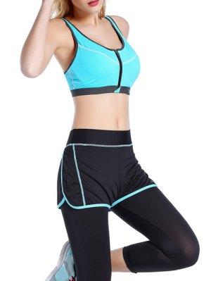 Push Up Front Zipper Sporty Bra - Azure