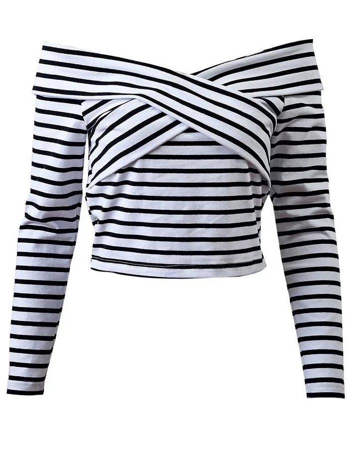Off Shoulder Striped Front Criss T-Shirt