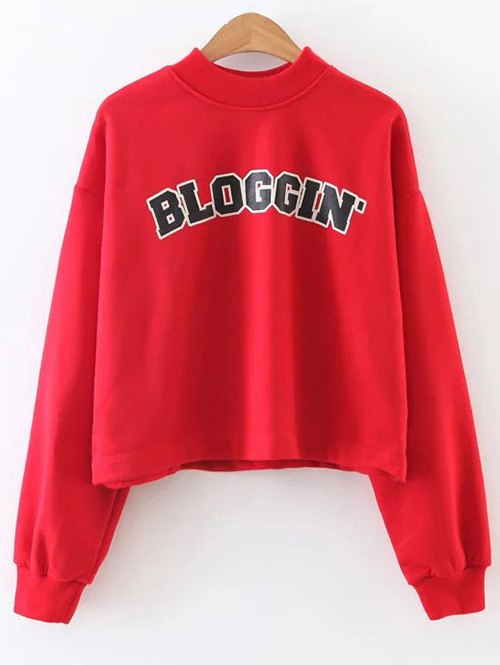 Mock Neck Graphic Print Cropped Sweatshirt