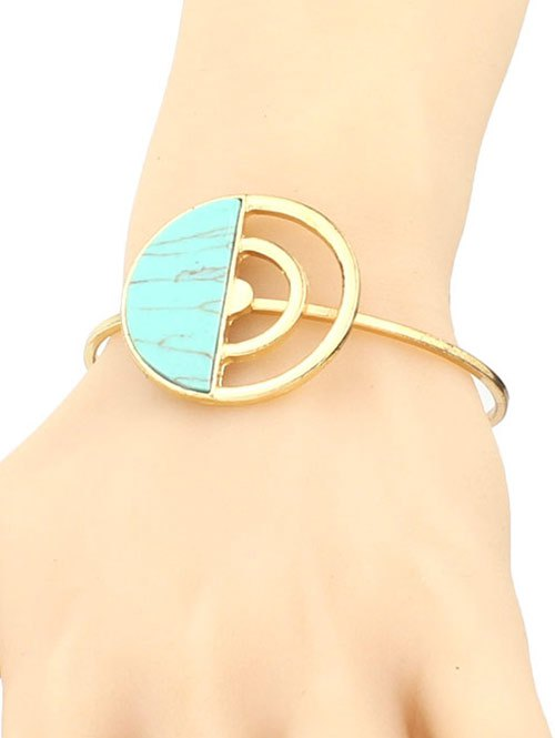 Artificial Turquoise Half Circle Cuff Bracelet