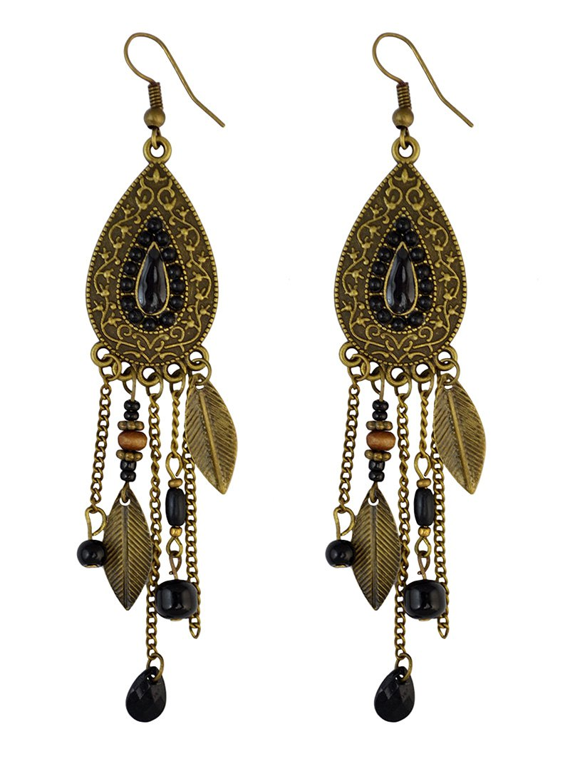 Beaded Fringe Water Drop Earrings