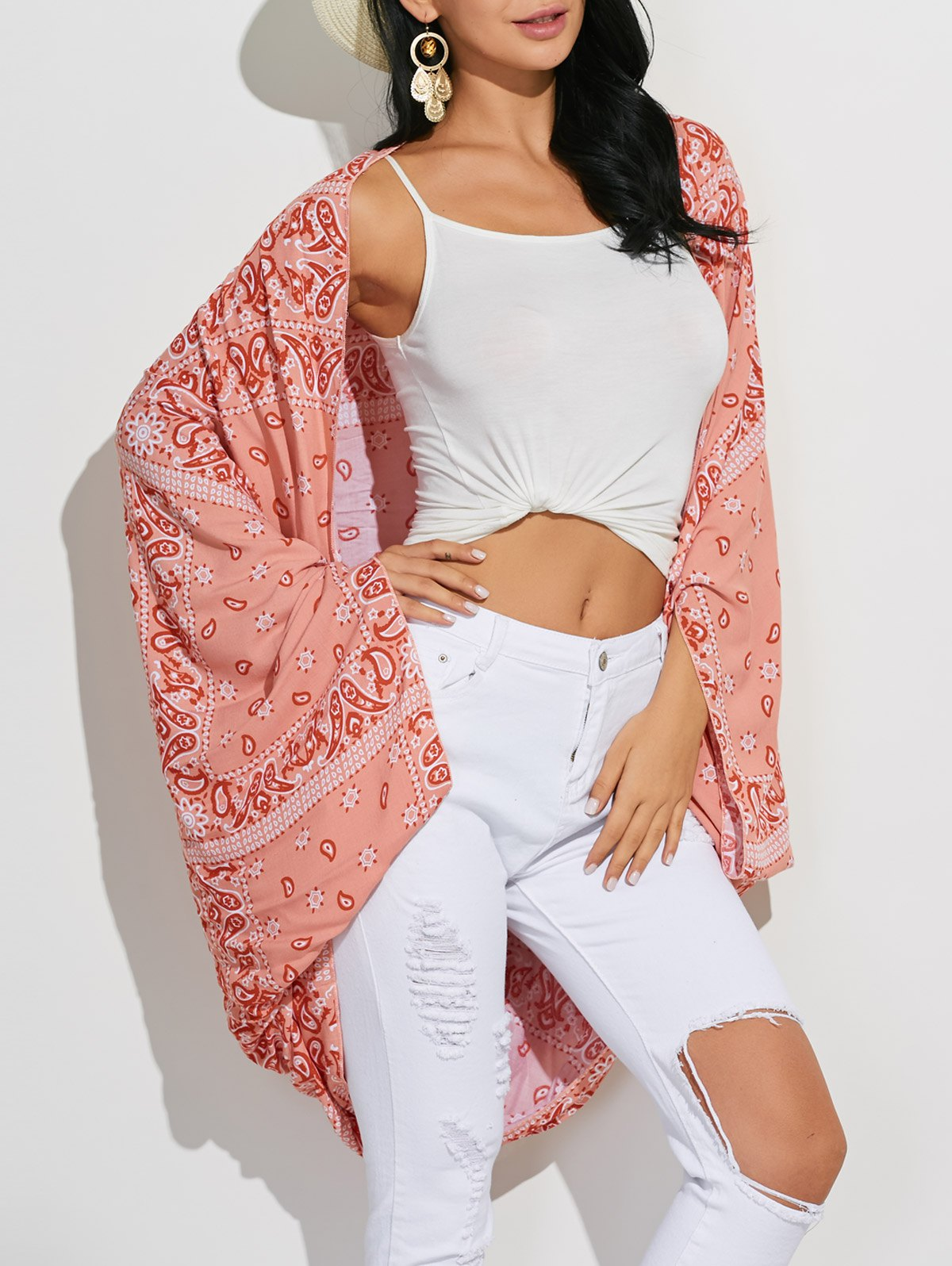 Collarless Long Sleeve Paisley Print Cover-Up