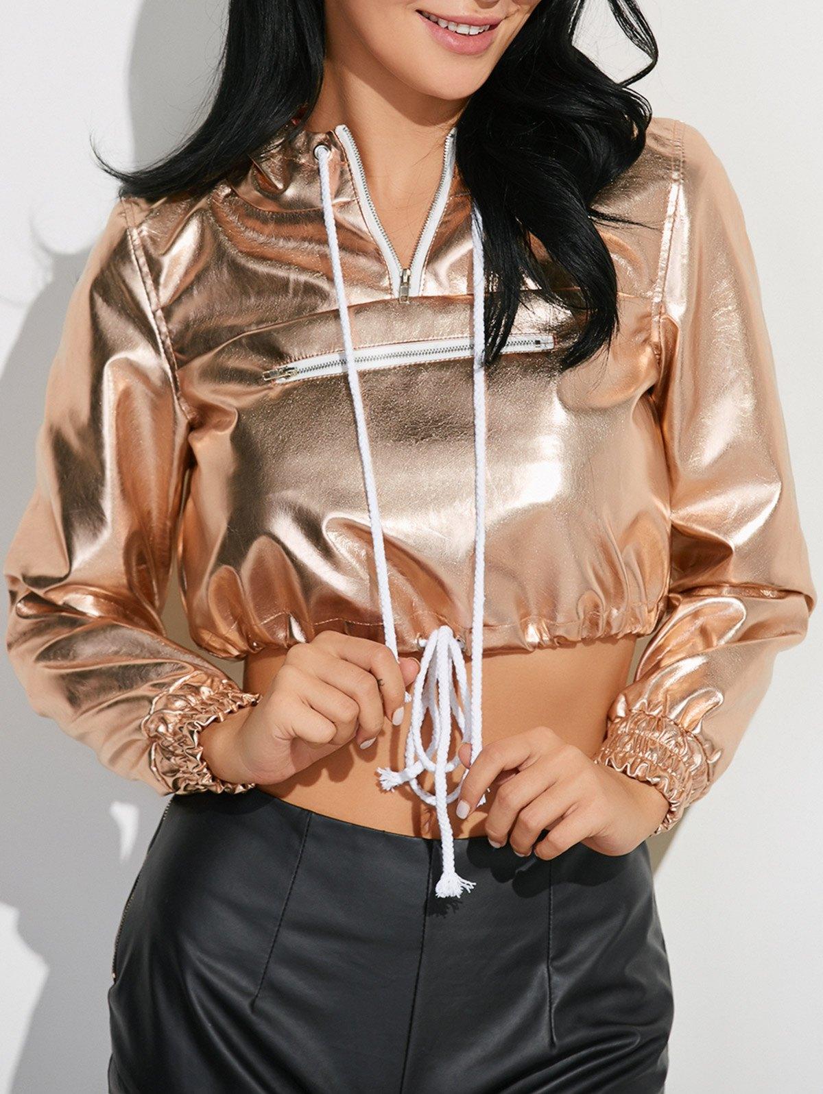 Metallic Color Pullover Hoodie