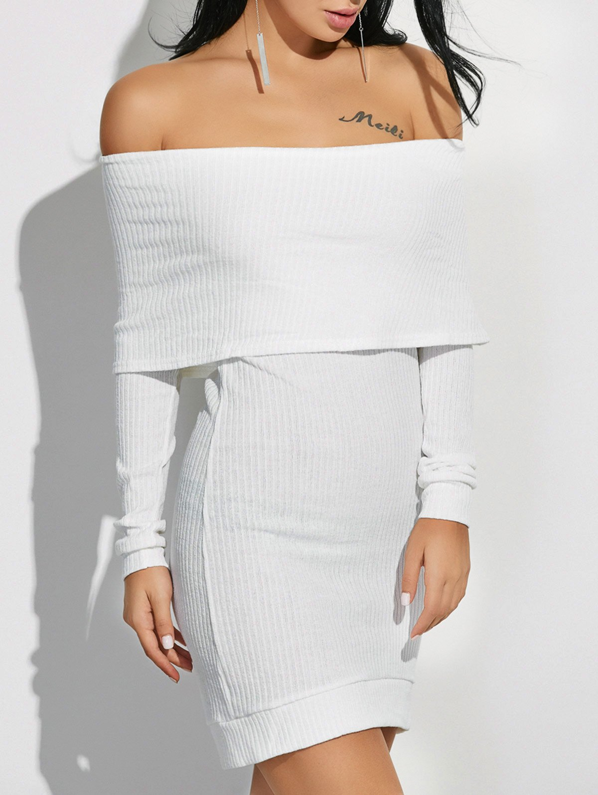 Off The Shoulder High Low Sweater Dress