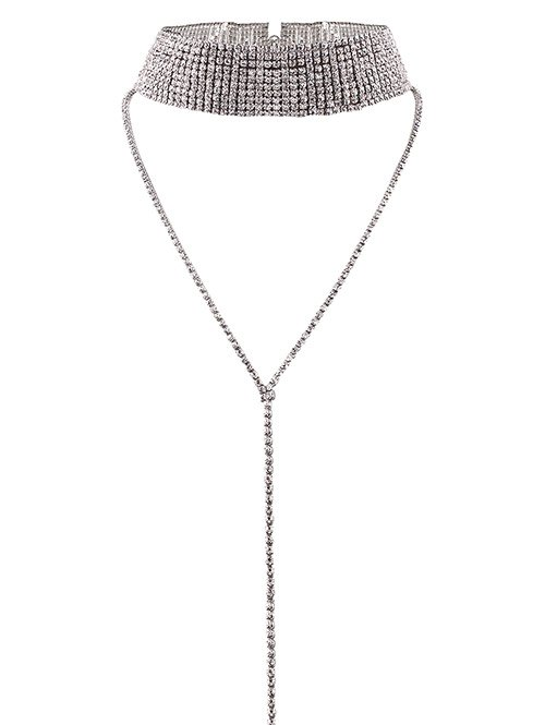 Long Wide Rhinestone Choker Necklace