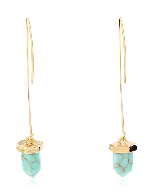 Artificial Turquoise Bullet Drop Earrings
