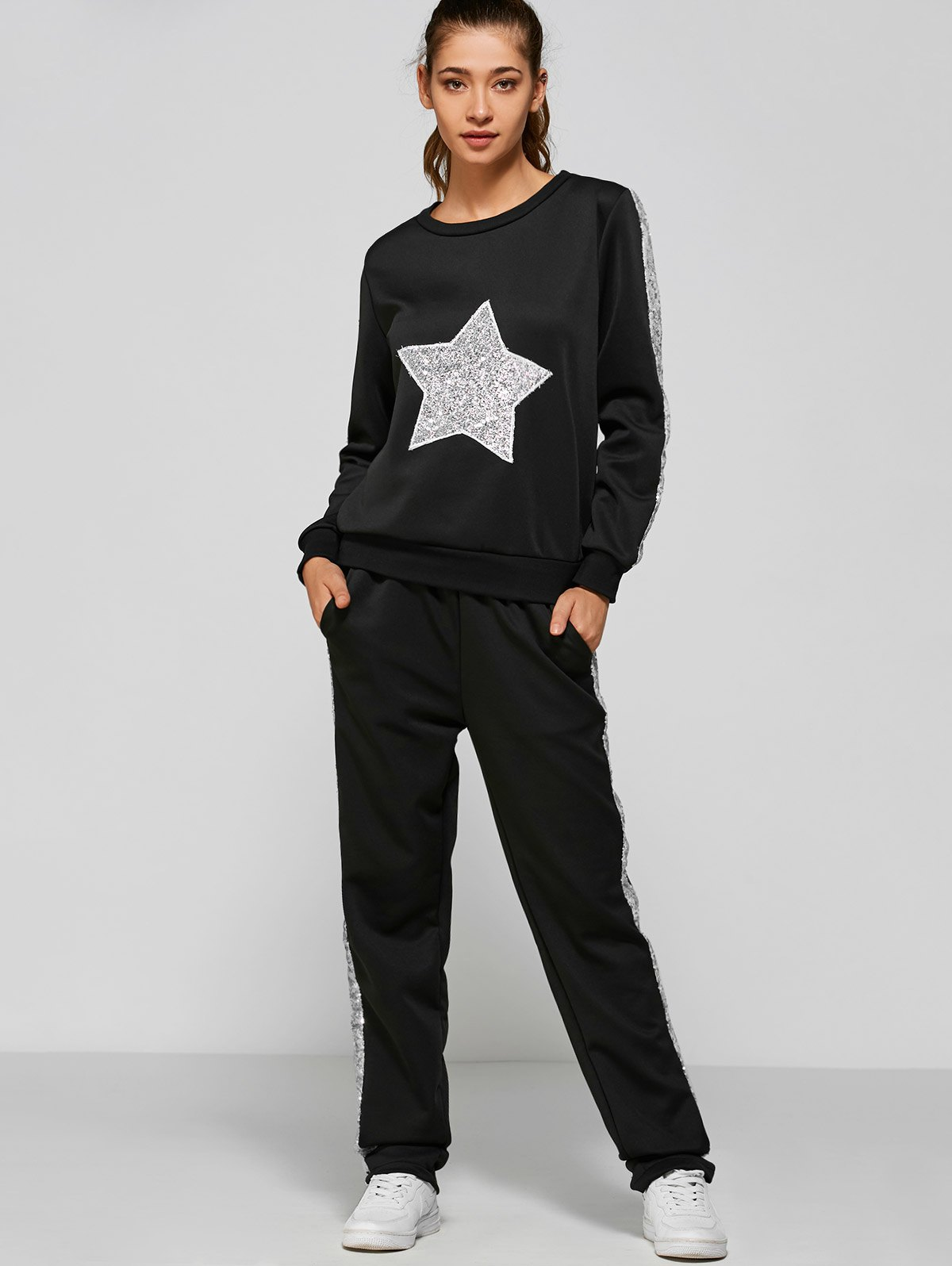 Slivery Star Sweatshirt and Side Patchy Pants