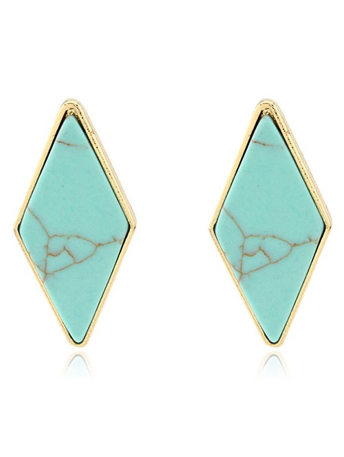 Artificial Turquoise Geometric Drop Earrings