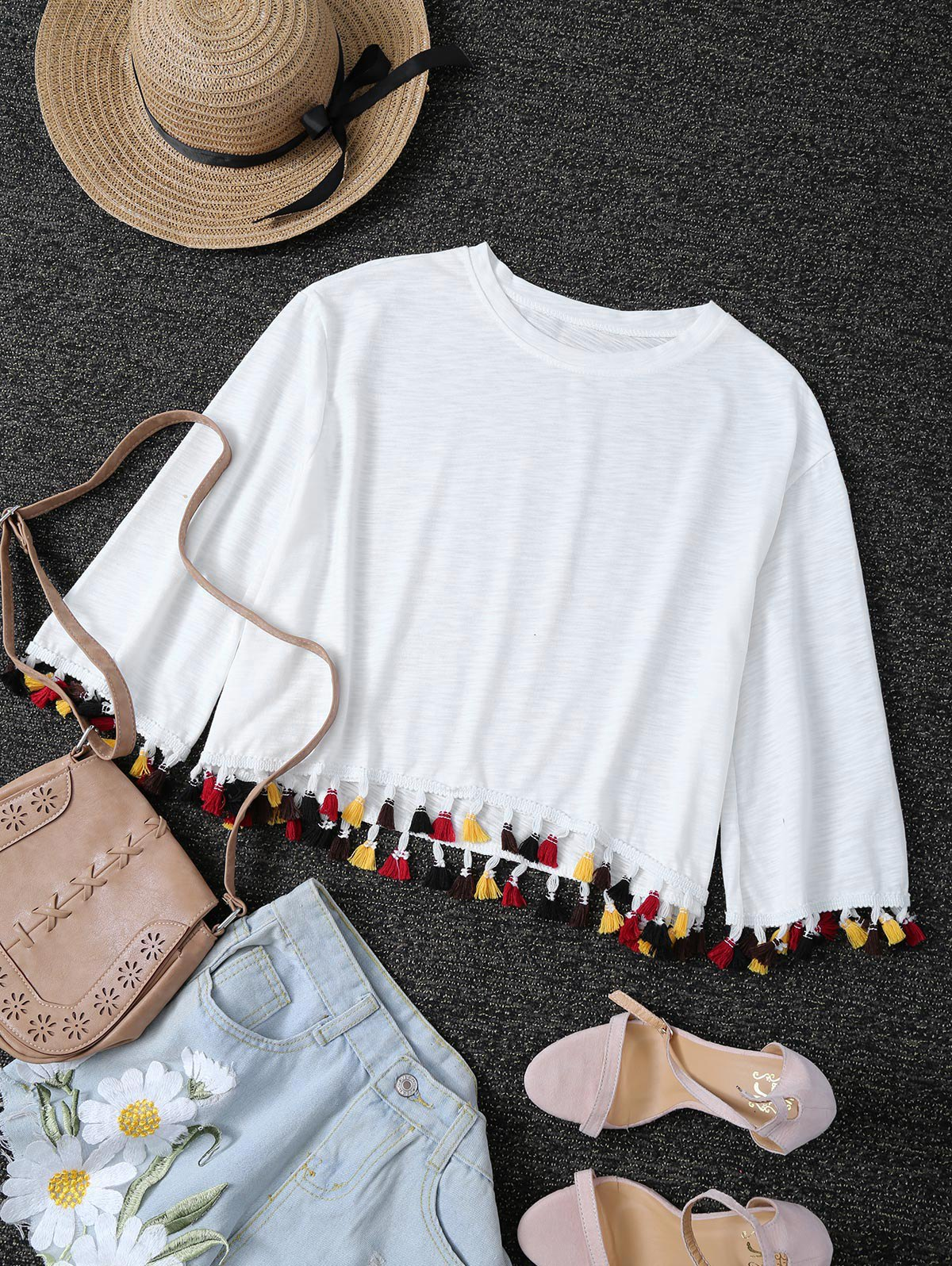 Jewel Neck Fringes T Shirt
