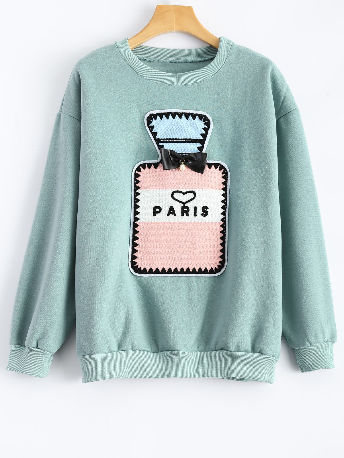 Crew Neck Perfume Bottle Patch Sweatshirt