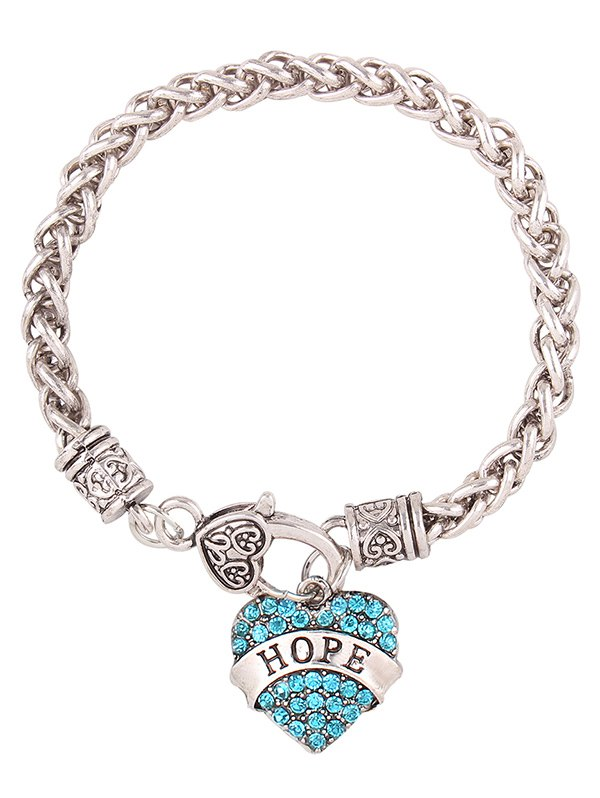 Rhinestone Engraved Hope Heart Charm Bracelet