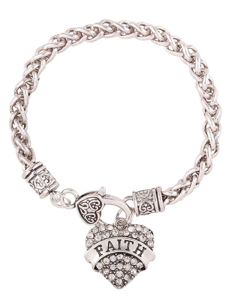 Rhinestone Engraved Faith Heart Charm Bracelet