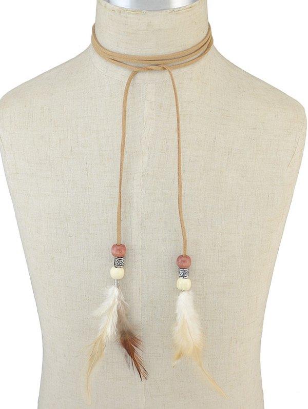Boho Feather Tie Choker Necklace